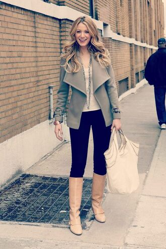 shoes blake lively serena van der woodsen gossip girl boots jacket coat