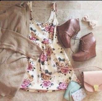 dress floral dress floral flower flower skater skirt pink dress ponk white white dress vintage dress vintage boho chic