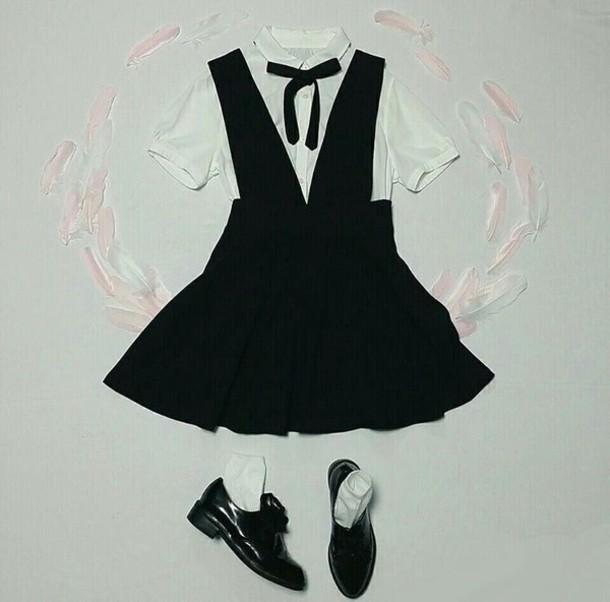 bbcf82d6b6 dress black overalls school uniform oh my girl kpop one step two steps