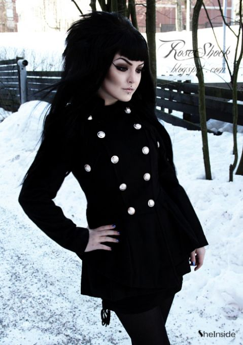 Black Military Double Skirt Hem Woolen Coat - Sheinside.com