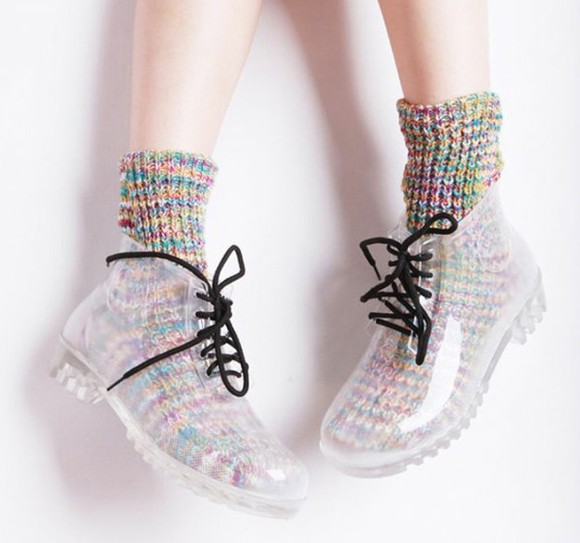 clear shoes boots clear boots jelly shoes socks rainbow girl