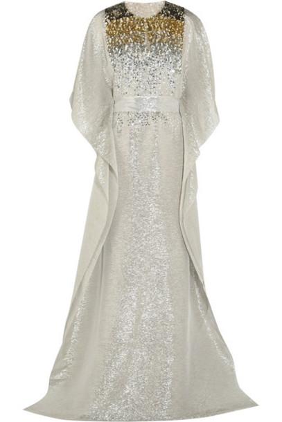 oscar de la renta gown gold silk dress