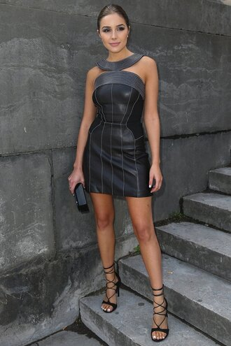 dress leather sandals olivia culpo mini dress paris fashion week 2016 shoes