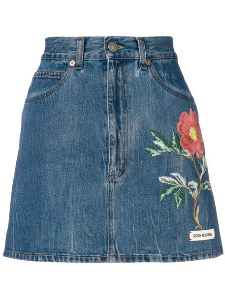 gucci skirt denim skirt denim women floral cotton blue