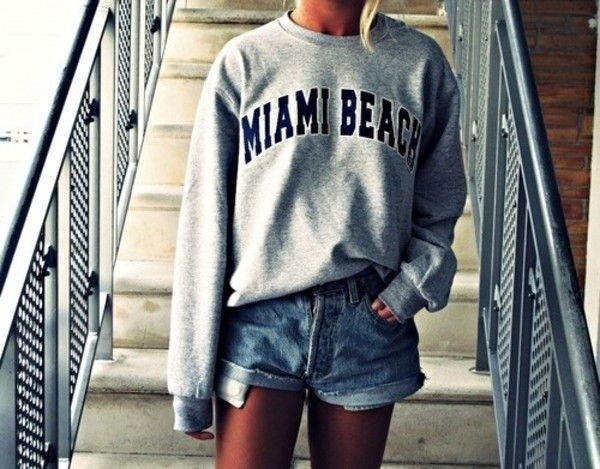 sweater sweatshirt tumblr miami beach shorts High waisted shorts
