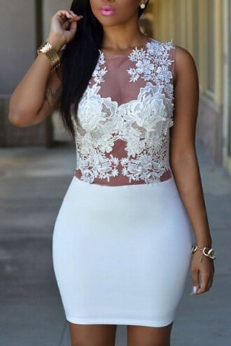 dress white lace sexy hot sexy jewel neck sleeveless see-through crochet women's dress floral summer trendy spring party wedding