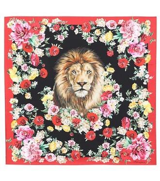 scarf silk scarf floral silk red