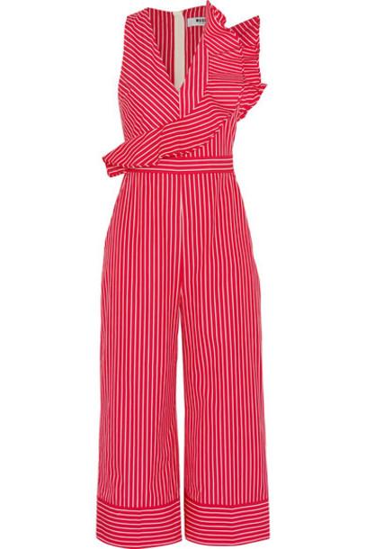 MSGM - Ruffled Striped Cotton-poplin Jumpsuit - Red