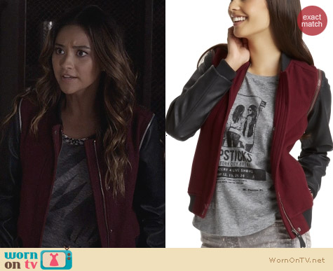 WornOnTV: Emily's red jacket with black leather sleeves on Pretty Little Liars | Shay Mitchell | Clothes and Wardrobe from TV