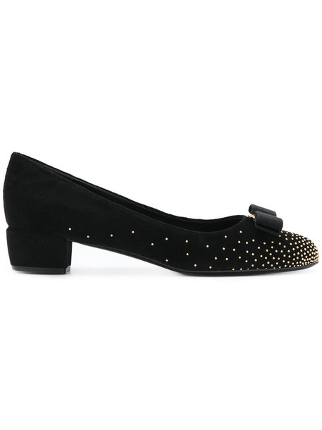 Salvatore Ferragamo studded women leather suede black shoes