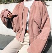 jacket,girly,girl,girly wishlist,pink,corduroy,zip,zip-up
