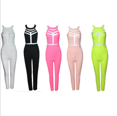 Fashion sexy net yarn stitching tight jumpsuits(5 color)  · fe clothing · online store powered by storenvy
