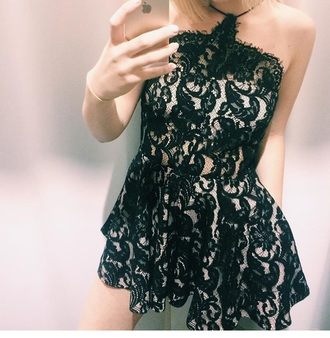 dress lace black romper black dress black lace dress halter neck dress
