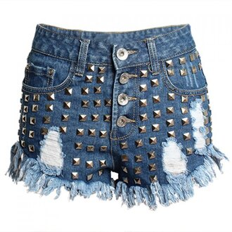 shorts rose wholesale denim style studs hipster fashion