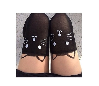 underwear kitty cat nylon cute girly socks knee high socks cats kawaii kawaii grunge