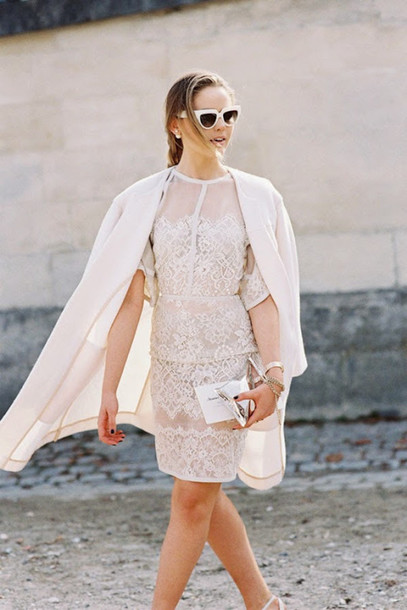 vanessa jackman blogger white dress lace dress white coat white classy dress tumblr white lace dress coat clutch sunglasses streetstyle kayture white sunglasses wedding