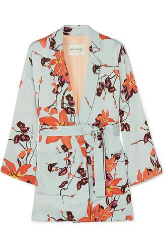 jacket floral print satin orange