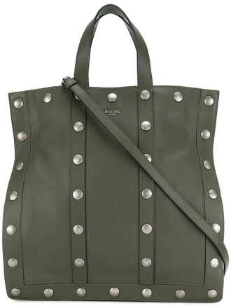 studded women leather green bag