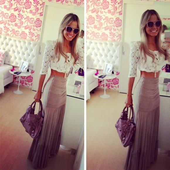 skirt maxi skirt brown skirt maxi beige skirt high waisted skirt boho indie hippie boho chic ootd girly weheartit summer maxi