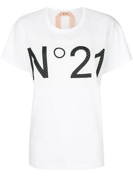 No21 t-shirt shirt t-shirt mesh women white cotton silk top