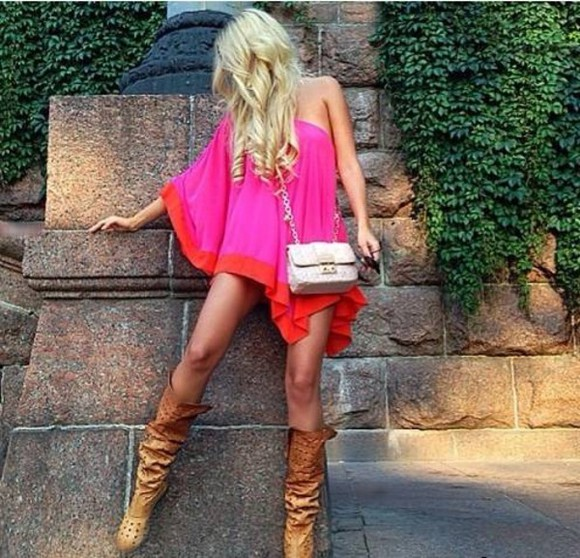 dress one shoulder pink mini dress