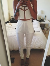 tank top,sheer,white,pants,top,crop tops,jumpsuit,see through,dress,shirt,white crop tops,white trousers,cute outfits,total look,blouse,cut