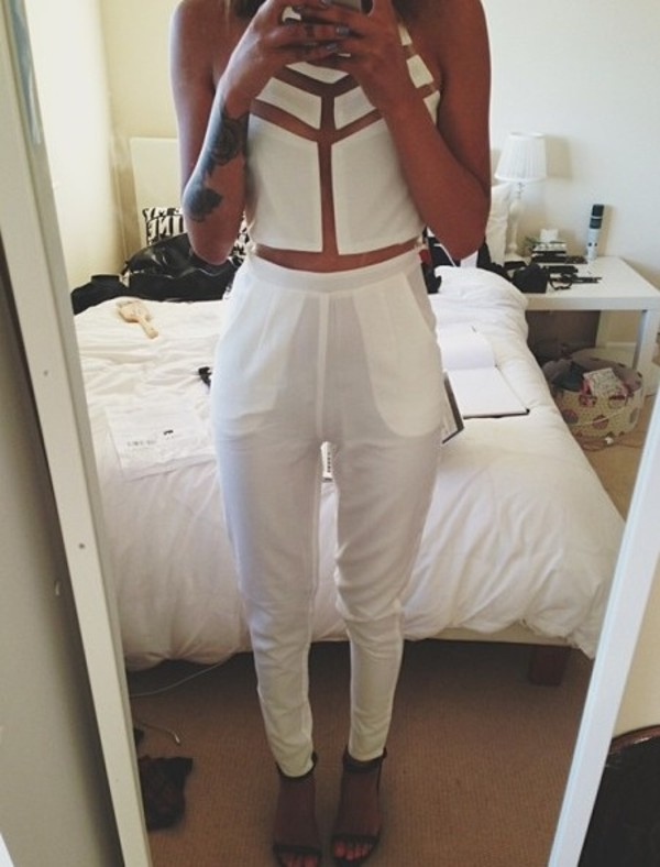tank top sheer white pants top crop tops jumpsuit see through dress shirt crop tops white crop tops white trousers cute outfits total look blouse cut