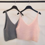 t-shirt,pink,grey,laine,crop tops,fuzzy top