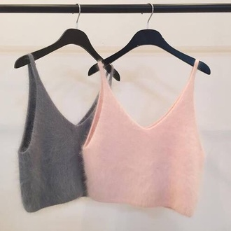 t-shirt pink grey laine crop tops fuzzy top
