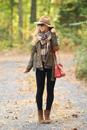 hat,brown hat,checkered scarf,green jacket,black leggings,red bag,brown boots,blogger,pants