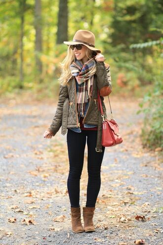 hat brown hat checkered scarf green jacket black leggings red bag brown boots blogger pants
