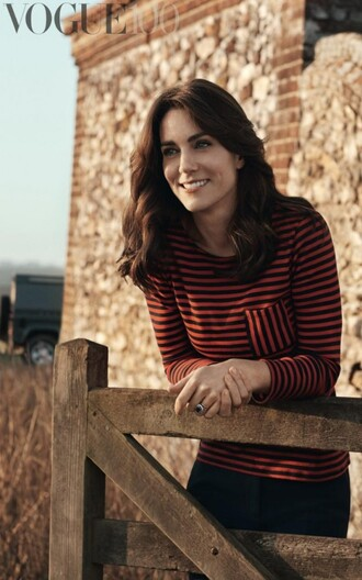 sweater stripes striped sweater editorial vogue kate middleton black pants princess royalty