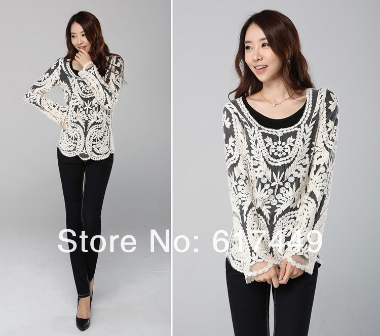 2014 new fashion lace embroidery floral crochet long sleeve women's blouses retro sexy hollow out plus size summer s m l xl 866
