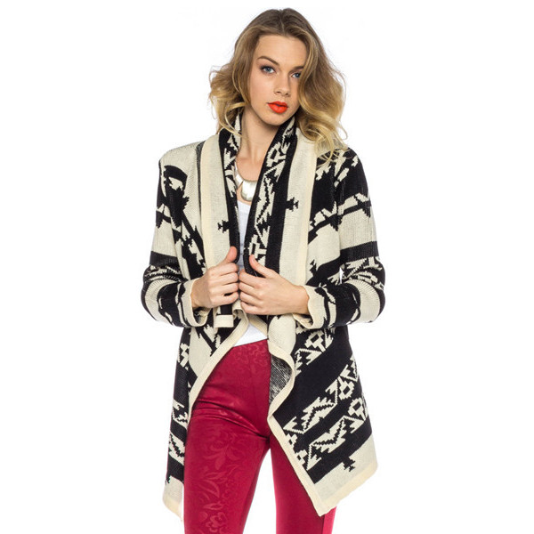 sweater desert rider cardigan makeup table vanity row dress to kill chic winter outfits fall outfits fashion black white tribal pattern print