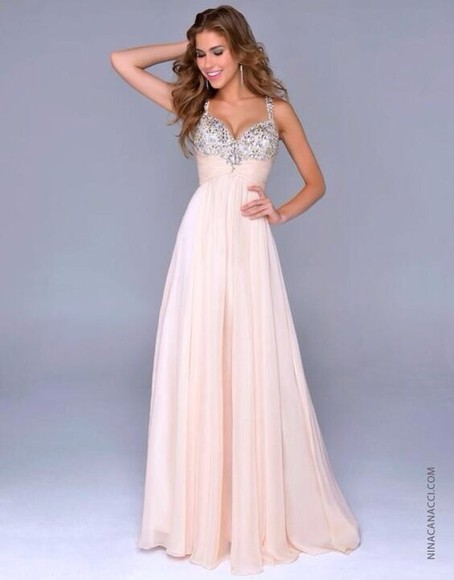 dress cream dress long prom dress sparkles sequin dress long prom dresses pink dress prom dress