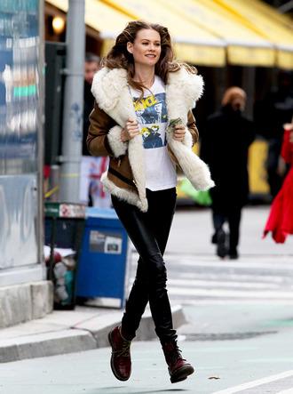 jacket coat street look fashion people behati prinsloo sheep fur streetstyle celebrity
