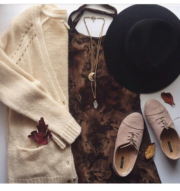 dress tie dye dress tie dye neutral colors neutral cardigan shoes style fashion lookbook fashion ideas inspiration indie girly fedora hat necklace stone necklaces pendant shorts jewels fall outfits