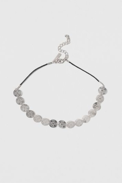Topshop necklace choker necklace silver jewels