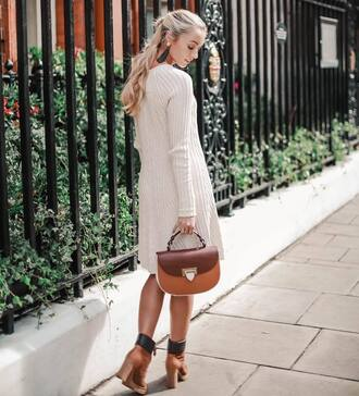 bag tumblr handbag brown bag dress midi dress knit knitted dress sweater dress boots ankle boots fall outfits fall dress