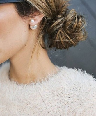 jewels earrings ear cuff pearl stud earrings white