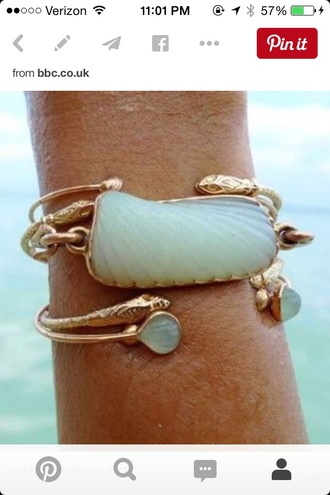 jewels turquoise gold mermaid ocean snake sea creatures bracelets stacked bracelets snake bracelet jewelry