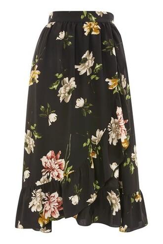 skirt wrap skirt floral black