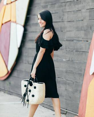 dress tumblr midi dress black midi dress cut-out bag summer dress summer outfits