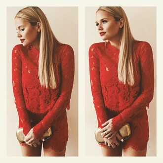 jumpsuit red lace romper red lace alli simpson gold clutch red romper lace romper