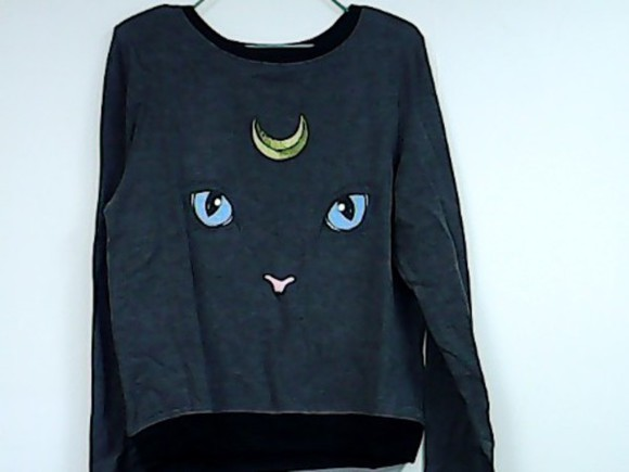 crewneck sweater grunge simple moon soft grunge cats kitty kitty cat kitty face cat face feline moon cat animal animals pullovers pastel goth cool