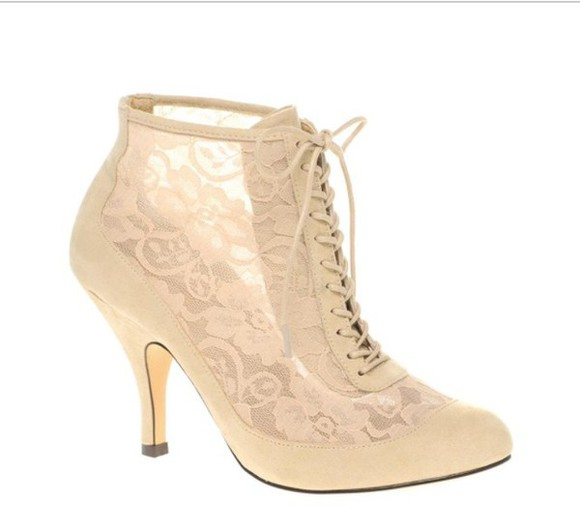 asos shoes cream high heels lace up heels , white , pumps , cute cream high heels boots style trendy lace dress lace