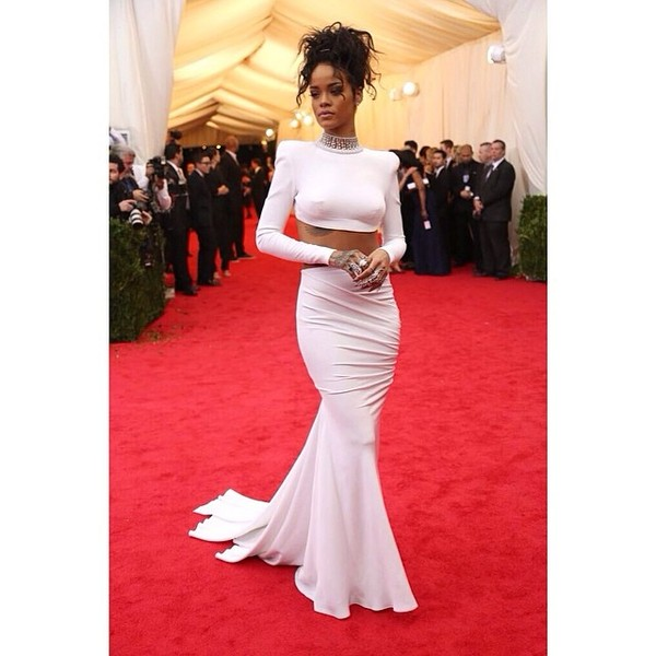 dress rihanna white dress