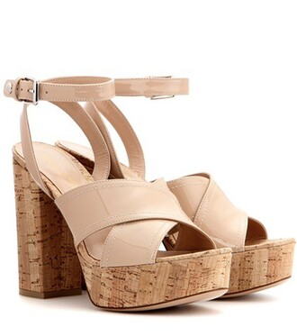 sandals platform sandals leather beige shoes