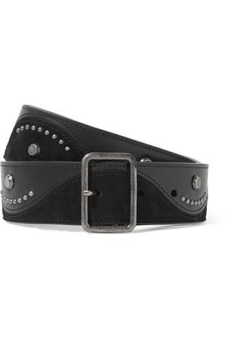 studded belt waist belt leather suede black