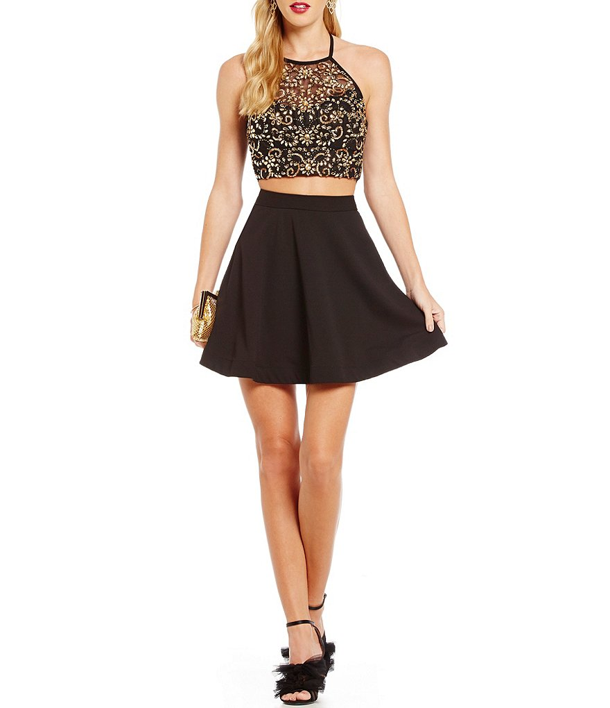 0ed49404e6f B. Darlin Beaded Halter Top Two-Piece Dress